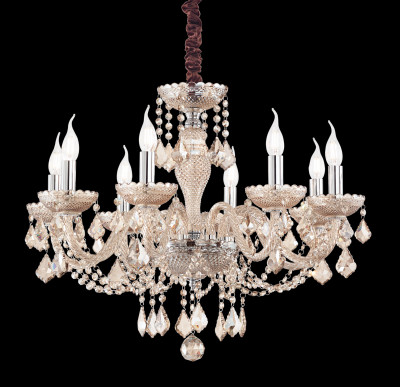 crystal chandelier ROSE 8 arms amber