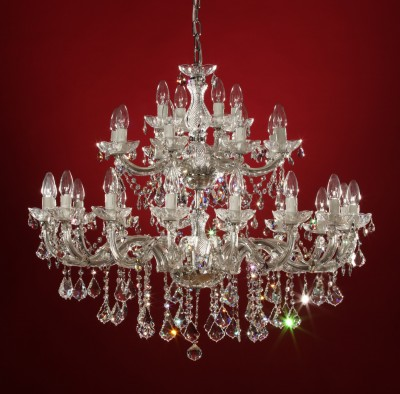 Venice crystal chandelier 28 arms brass or nickel