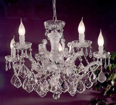 crystal chandelier 5 arms gold plated or nickel MSRP 699¤