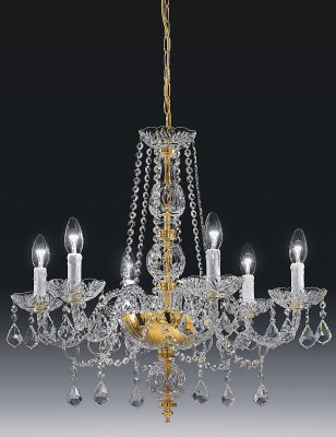 crystal chandelier Toledo 6 arms brass or nickel-plated