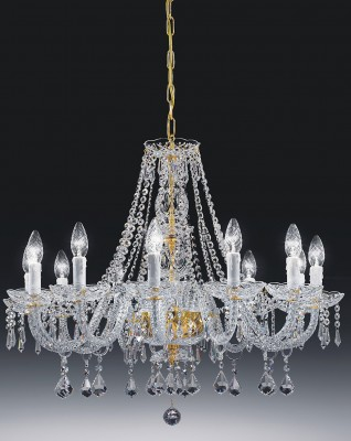 crystal chandelier Valencia 12 arms gold-plated or nickel-plated