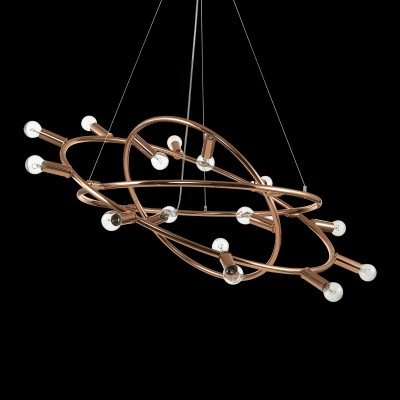 pendant light COSMO 15-flames Ø88cm copper
