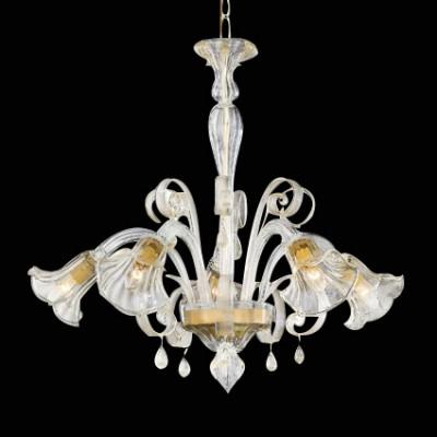 crystal chandelier CADORO 5 arms Ø70cm transparent