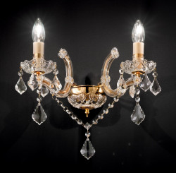 wall light FLORIAN 2 arms gold or silver