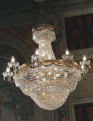 crystal chandelier Pegaso Ø107cm gold-plated or nickel-plated