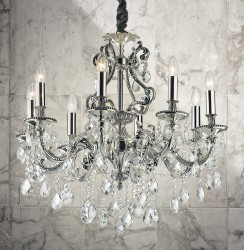 crystal chandelier GIOCONDA 8 arms Ø72cm silver or brass