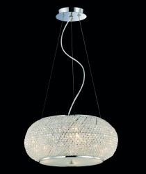 pendant light PASHA 6-flames Ø45cm chrom or gold