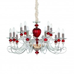 crystal chandelier BARONET 15-arms clear-red Ø88cm