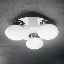 ceiling lamp EVOLUTION 3-flames Ø37cm chrome/white