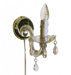 crystal sconce 1 arms brass with cable