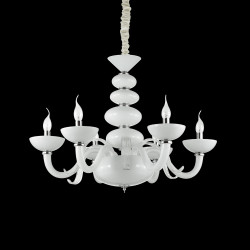 chandelier PRAGA SP6 6-arm Ø85cm white