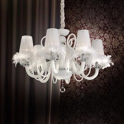 crystal chandelier MOULIN ROUGE 6-arms Ø90cm white