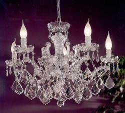 crystal chandelier 5 arms gold plated or nickel <s>699€</s>