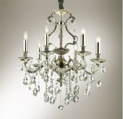 crystal chandelier 6 arms Ø63cm antique silver or brass