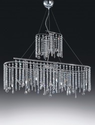 pendant luminaire Silk Alpha 100cm with lead crystal hangings