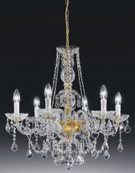 crystal chandelier Serenade 6 arms gold-plated or nickel-plated