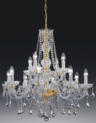 crystal chandelier Serenade 12 arms gold-plated or nickel-plated