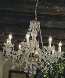 crystal chandelier Serenade 8 arms gold-plated or nickel-plated