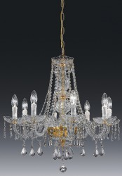 crystal chandelier Valencia 8 arms gold-plated or nickel-plated