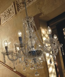 crystal chandelier Valencia 6 arms gold-plated or nickel-plated