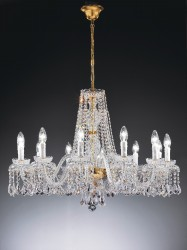 crystal chandelier Barcelona 12 arms 24karat gold-plated or nickel