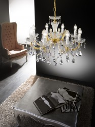 crystal chandelier DALIA 8 arms gold
