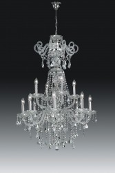 crystal chandelier VALENCIA 12 arms nickel or brass