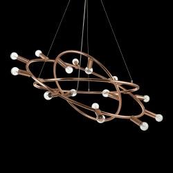 pendant light COSMO 15-flames Ø88cm copper