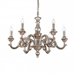 chandelier GIGLIO 6 arms silver antique