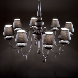 chandelier BLANCHE 8 arms Ø92cm black