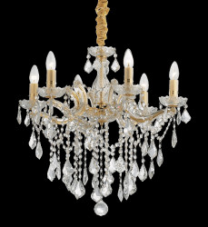 crystal chandelier FLORIAN Ø60cm 6 arms gold or chrome
